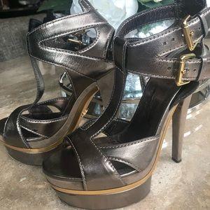 Gucci bronze t strap platform heels 39